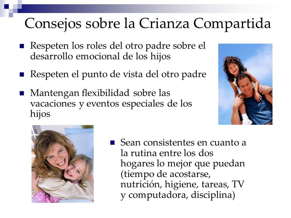 Consejos sobre la Crianza Compartida Respeten los roles del otro padre sobre el desarrollo emocional de los hijos Respeten el punto de vista del otro