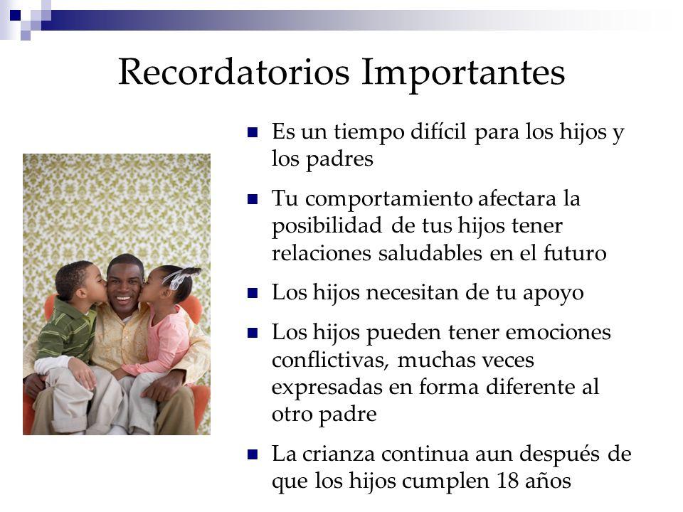 Recordatorios Importantes Es un tiempo difícil para los hijos y los padres Tu comportamiento afectara la posibilidad de tus hijos tener relaciones sal