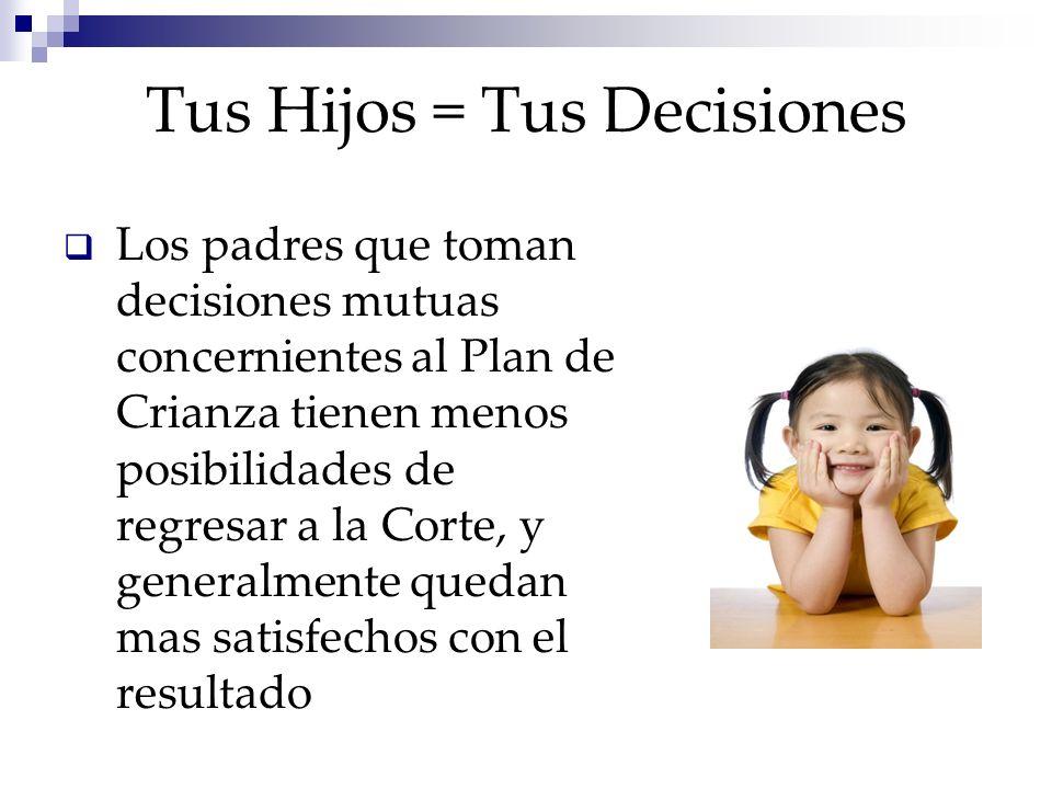 Tus Hijos = Tus Decisiones Los padres que toman decisiones mutuas concernientes al Plan de Crianza tienen menos posibilidades de regresar a la Corte, y generalmente quedan mas satisfechos con el resultado
