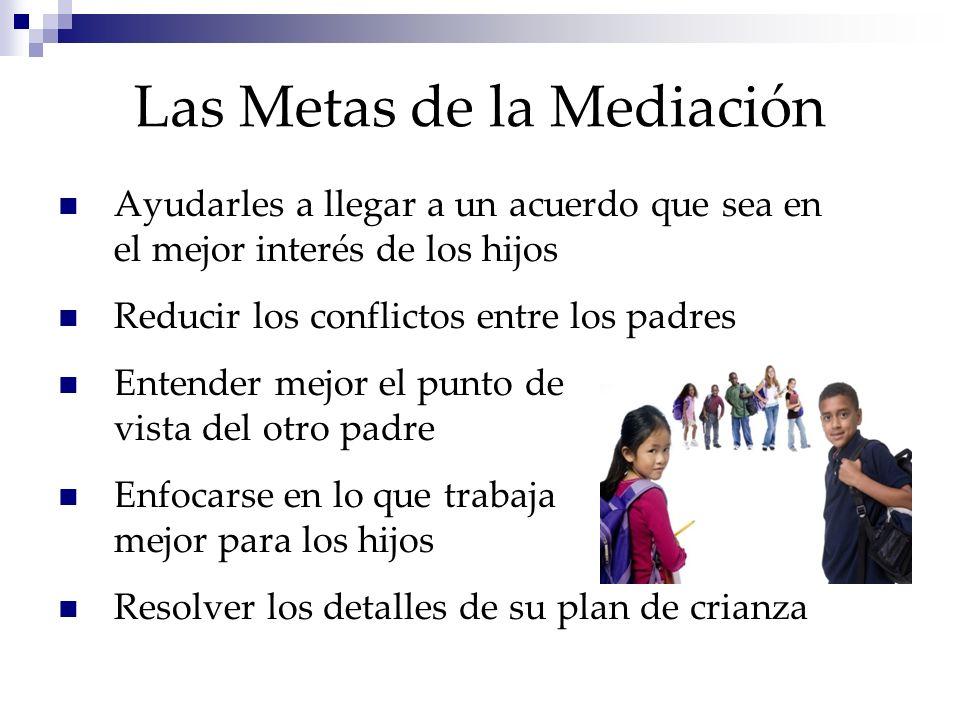 Las Metas de la Mediación Ayudarles a llegar a un acuerdo que sea en el mejor interés de los hijos Reducir los conflictos entre los padres Entender me