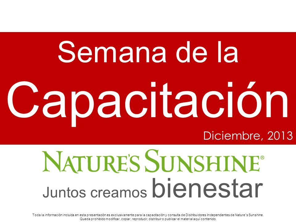 1 Semana de la Capacitación Diciembre, 2013 Toda la información incluida en esta presentación es exclusivamente para la capacitación y consulta de Dis