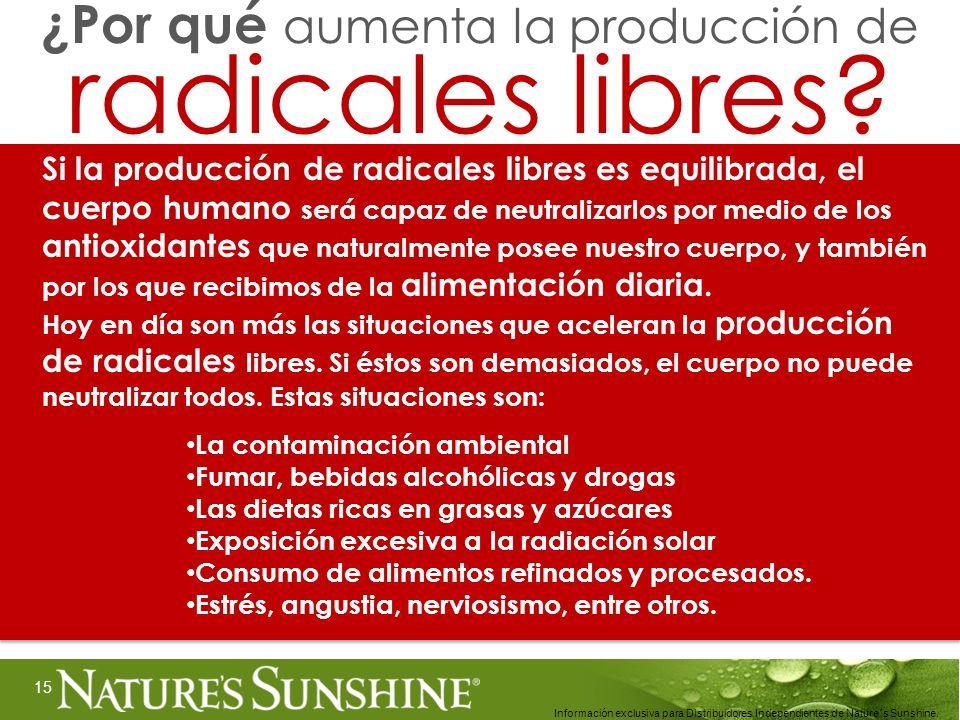 15 Información exclusiva para Distribuidores Independientes de Nature´s Sunshine.. Si la producción de radicales libres es equilibrada, el cuerpo huma