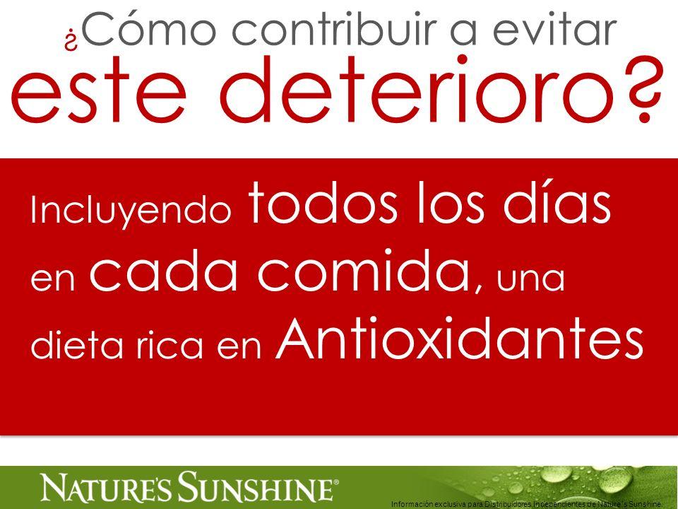 Información exclusiva para Distribuidores Independientes de Nature´s Sunshine.. Incluyendo todos los días en cada comida, una dieta rica en Antioxidan