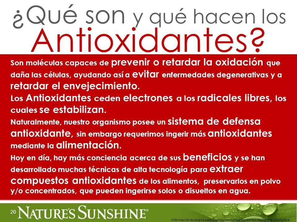 20 Información exclusiva para Distribuidores Independientes de Nature´s Sunshine.. Son moléculas capaces de prevenir o retardar la oxidación que daña