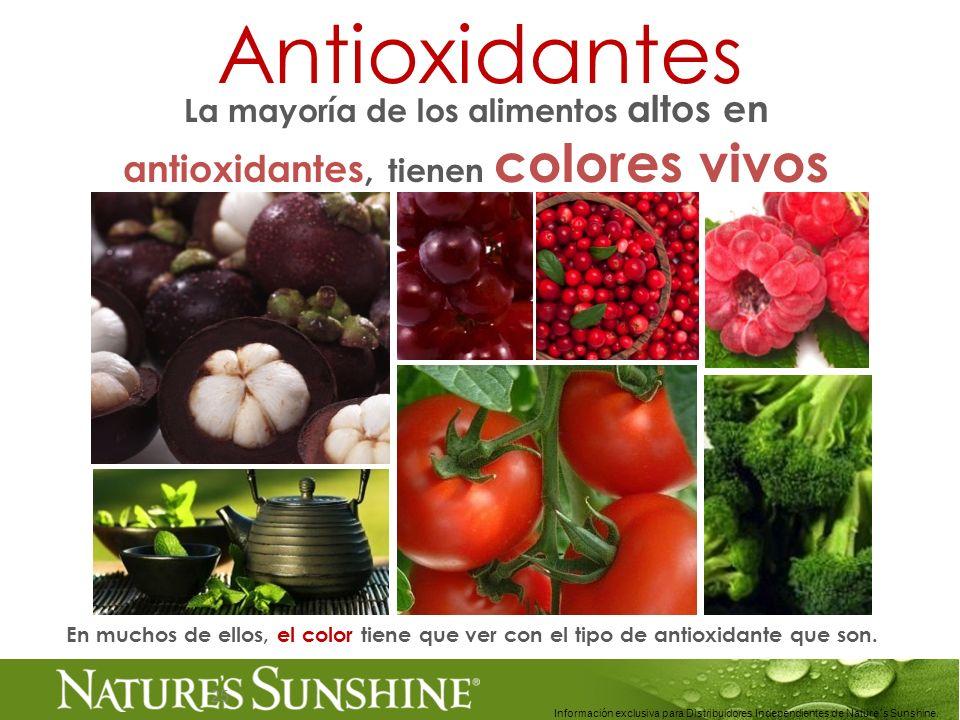 25 Antioxidantes La mayoría de los alimentos altos en antioxidantes, tienen colores vivos Información exclusiva para Distribuidores Independientes de