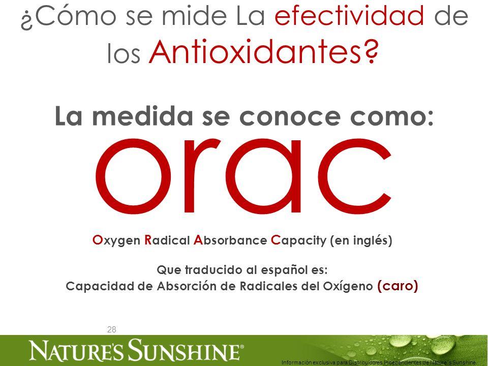28 ¿Cómo se mide La efectividad de los Antioxidantes? Información exclusiva para Distribuidores Independientes de Nature´s Sunshine.. orac O xygen R a