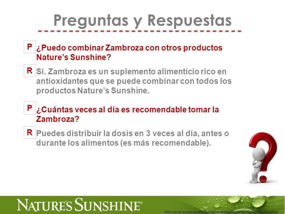 38 ¿Puedo combinar Zambroza con otros productos Natures Sunshine? Sí. Zambroza es un suplemento alimenticio rico en antioxidantes que se puede combina