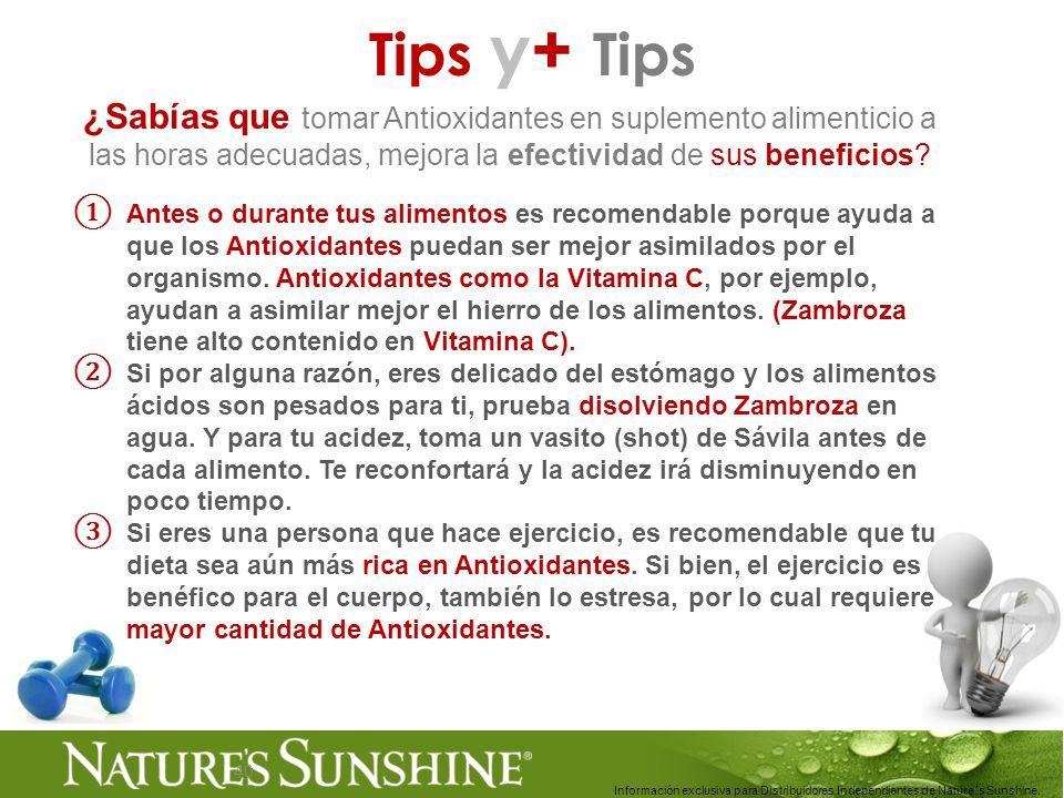 40 Tips y+ Tips ¿Sabías que tomar Antioxidantes en suplemento alimenticio a las horas adecuadas, mejora la efectividad de sus beneficios? Antes o dura