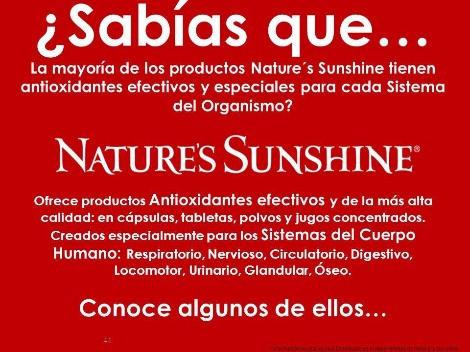 41 ¿Sabías que… La mayoría de los productos Nature´s Sunshine tienen antioxidantes efectivos y especiales para cada Sistema del Organismo? Información