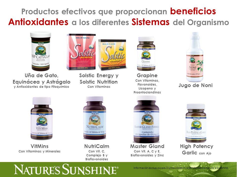 42 Uña de Gato, Equinácea y Astrágalo y Antioxidantes de tipo Fitoquímico 42 Información exclusiva para Distribuidores Independientes de Nature´s Suns