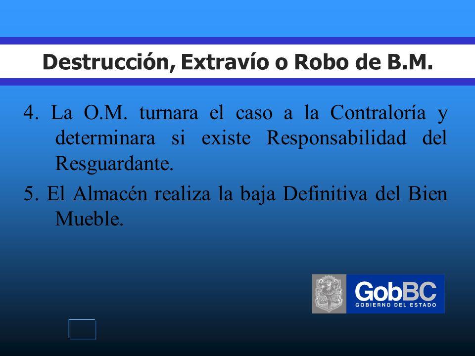 Destrucción, Extravío o Robo de B.M. 1.El Resguardante será el Responsable de los Bienes Muebles.