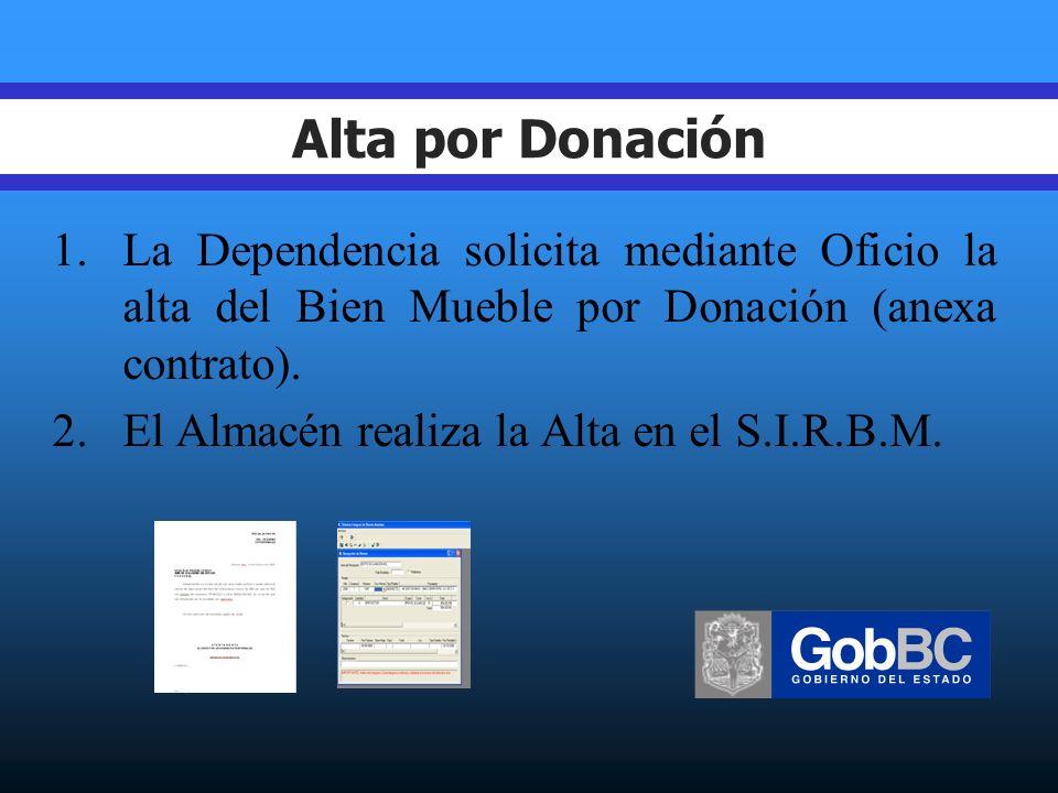 Alta por Donación 1.La Dependencia solicita mediante Oficio la alta del Bien Mueble por Donación (anexa contrato).