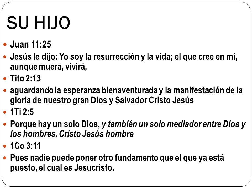 SU HIJO Juan 11:25 Jesús le dijo: Yo soy la resurrección y la vida; el que cree en mí, aunque muera, vivirá, Tito 2:13 aguardando la esperanza bienave