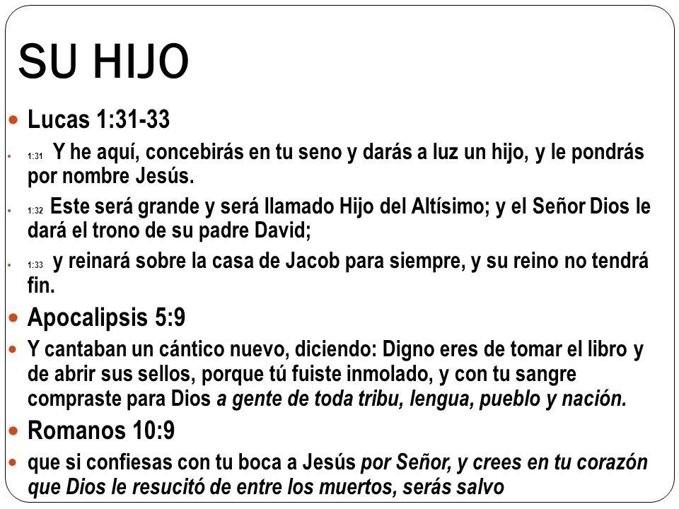 SU HIJO Juan 11:25 Jesús le dijo: Yo soy la resurrección y la vida; el que cree en mí, aunque muera, vivirá, Tito 2:13 aguardando la esperanza bienaventurada y la manifestación de la gloria de nuestro gran Dios y Salvador Cristo Jesús 1Ti 2:5 Porque hay un solo Dios, y también un solo mediador entre Dios y los hombres, Cristo Jesús hombre 1Co 3:11 Pues nadie puede poner otro fundamento que el que ya está puesto, el cual es Jesucristo.