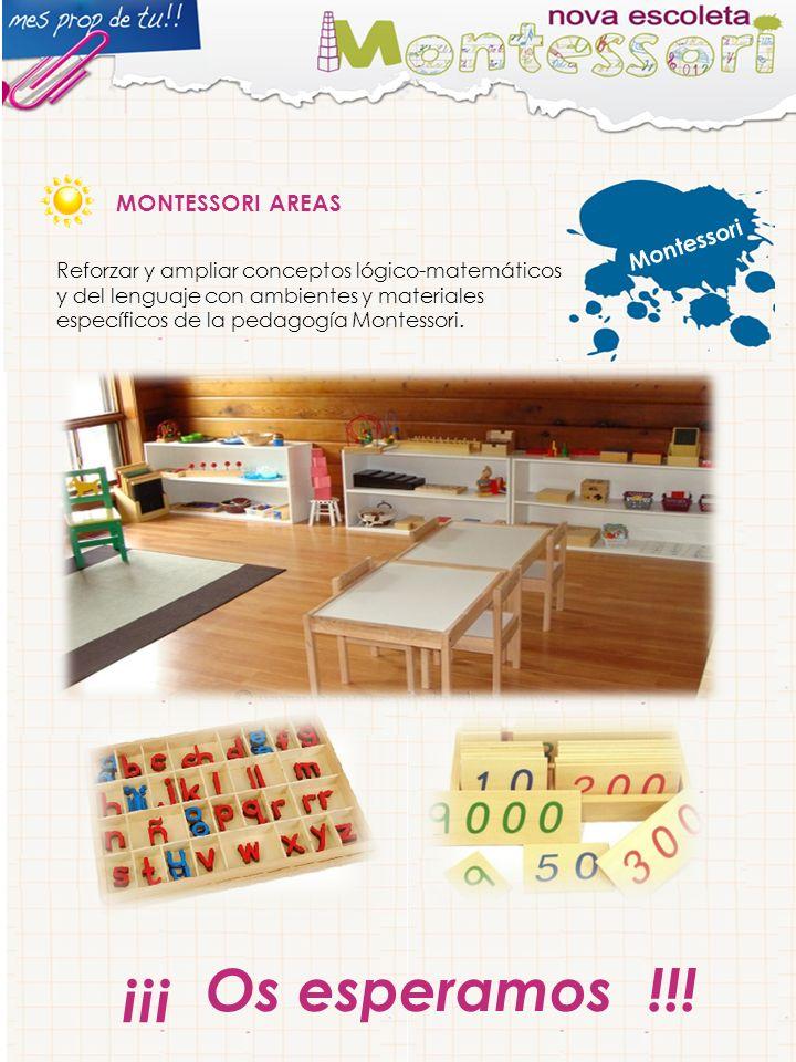 Montessori MONTESSORI AREAS Reforzar y ampliar conceptos lógico-matemáticos y del lenguaje con ambientes y materiales específicos de la pedagogía Montessori.