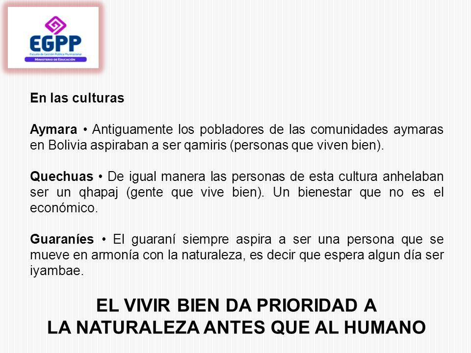 En las culturas Aymara Antiguamente los pobladores de las comunidades aymaras en Bolivia aspiraban a ser qamiris (personas que viven bien). Quechuas D