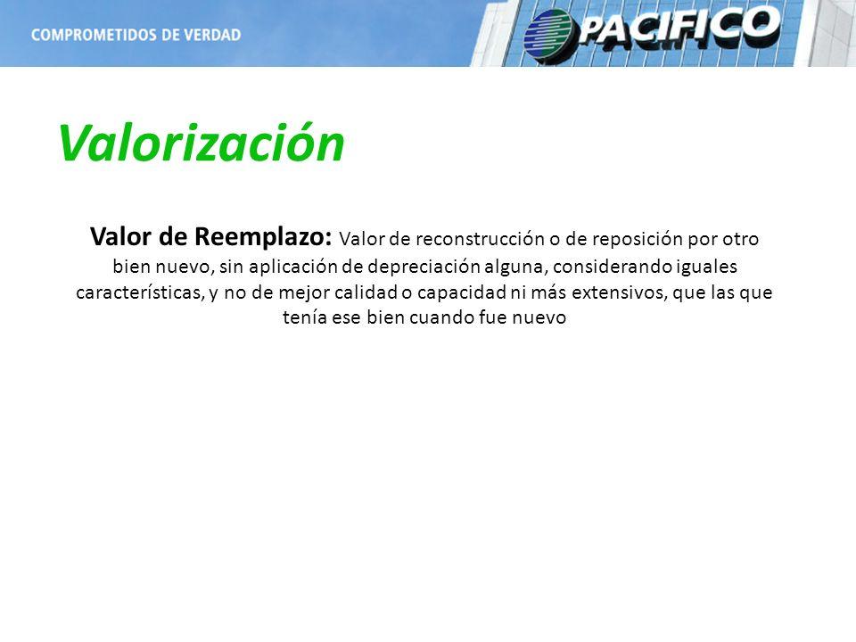 Valorización Valor de Reemplazo: Valor de reconstrucción o de reposición por otro bien nuevo, sin aplicación de depreciación alguna, considerando igua