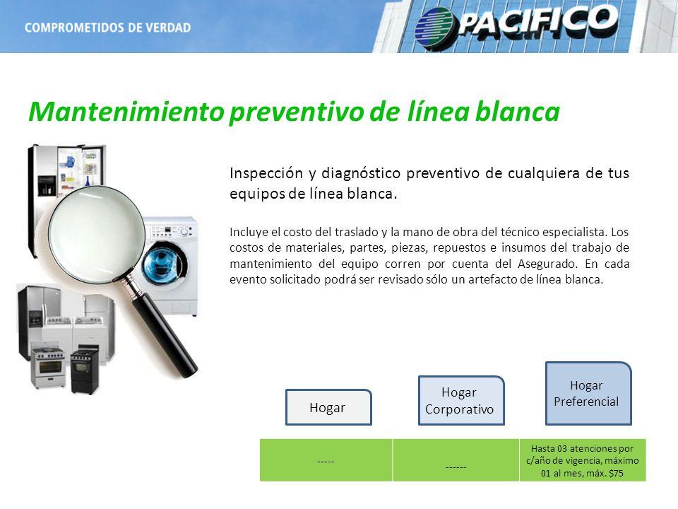 Mantenimiento preventivo de línea blanca ----- ------ Hasta 03 atenciones por c/año de vigencia, máximo 01 al mes, máx. $75 Inspección y diagnóstico p