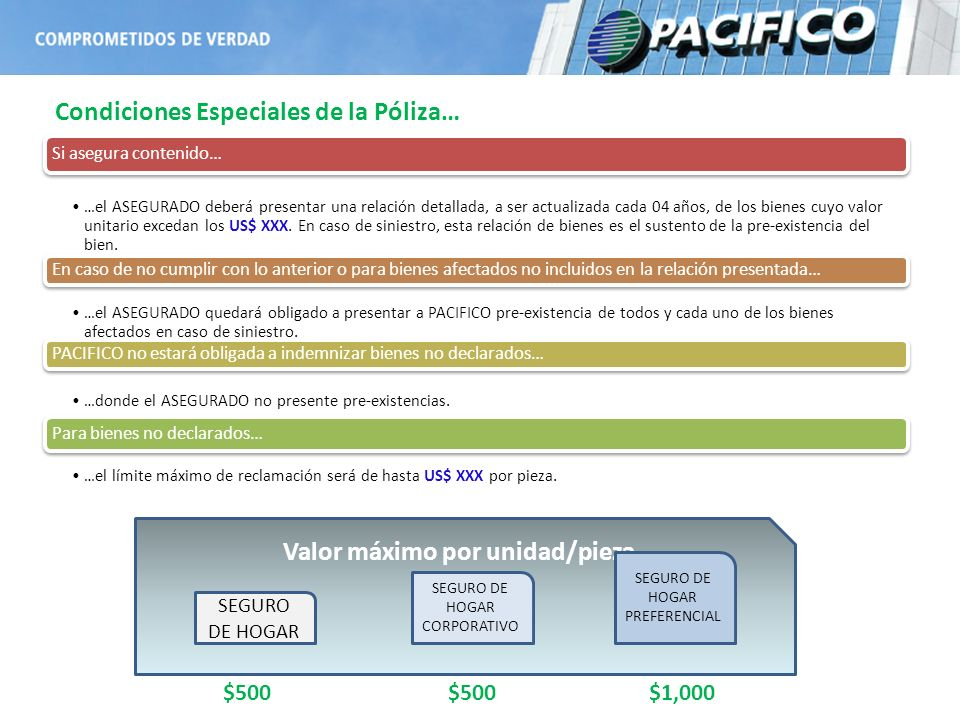 Condiciones Especiales de la Póliza… Valor máximo por unidad/pieza SEGURO DE HOGAR SEGURO DE HOGAR CORPORATIVO SEGURO DE HOGAR PREFERENCIAL $500 $1,00
