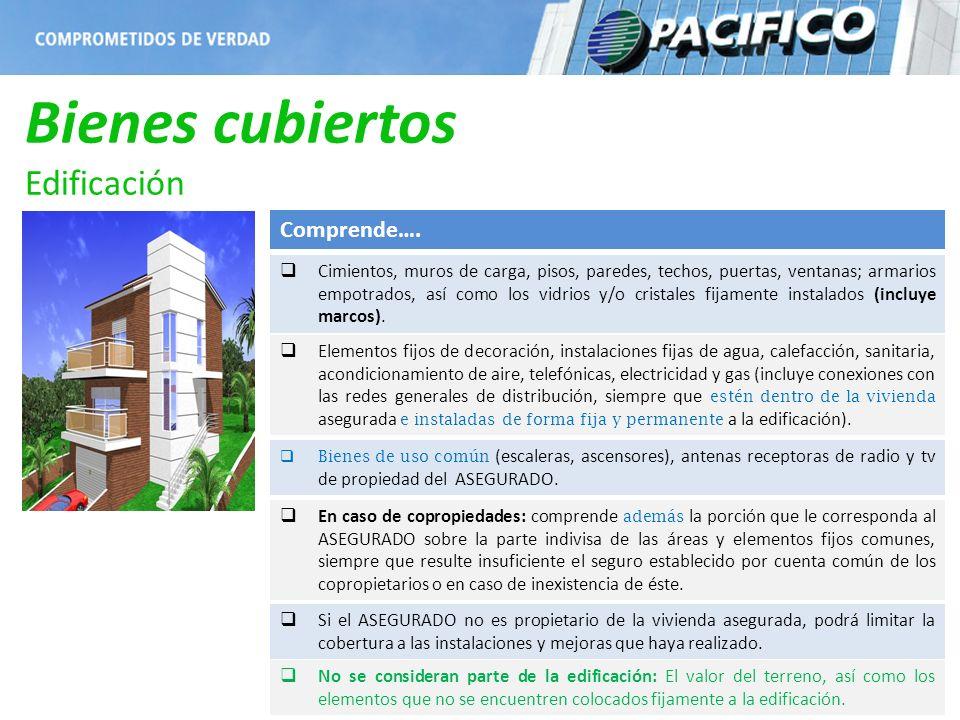 Bienes cubiertos Edificación Comprende…. Cimientos, muros de carga, pisos, paredes, techos, puertas, ventanas; armarios empotrados, así como los vidri