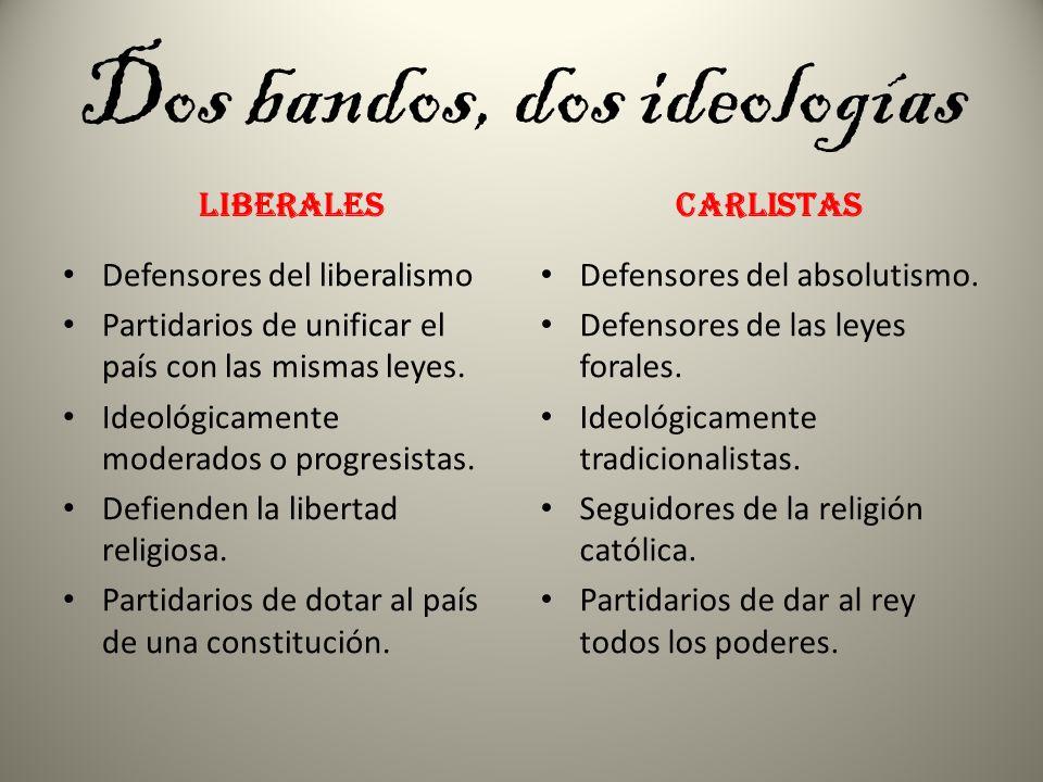 Dos bandos, dos ideologías LiberalES Defensores del liberalismo Partidarios de unificar el país con las mismas leyes. Ideológicamente moderados o prog