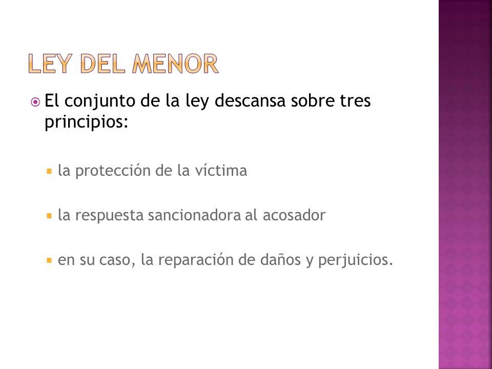 El conjunto de la ley descansa sobre tres principios: la protección de la víctima la respuesta sancionadora al acosador en su caso, la reparación de daños y perjuicios.