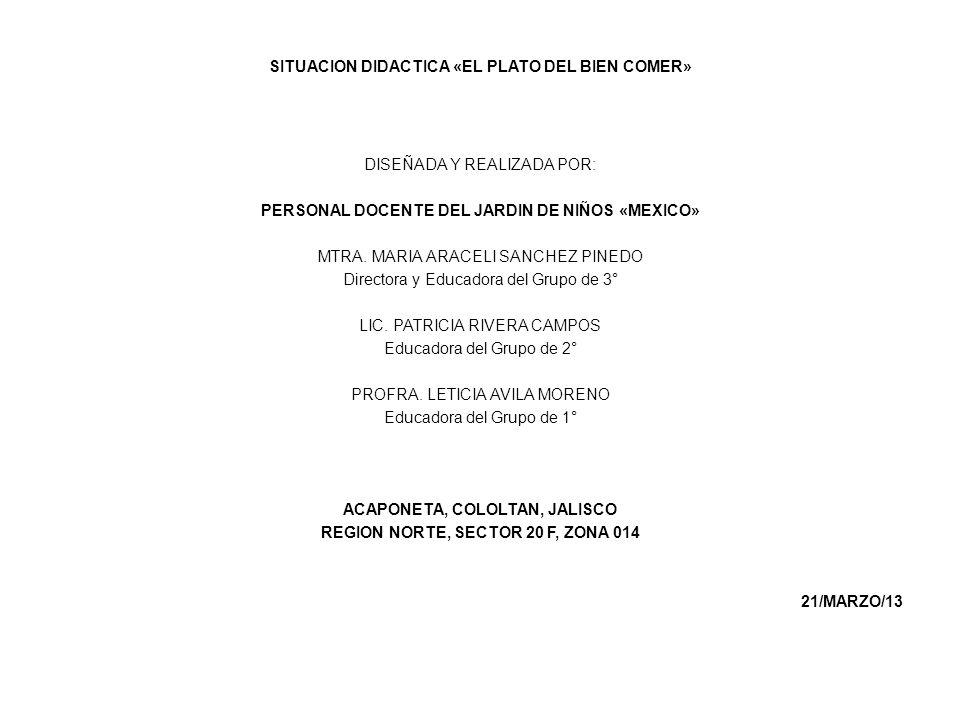 SITUACION DIDACTICA «EL PLATO DEL BIEN COMER» DISEÑADA Y REALIZADA POR: PERSONAL DOCENTE DEL JARDIN DE NIÑOS «MEXICO» MTRA. MARIA ARACELI SANCHEZ PINE