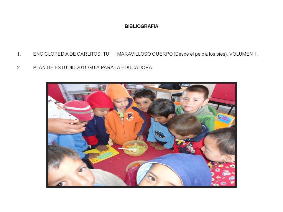 BIBLIOGRAFIA 1.ENCICLOPEDIA DE CARLITOS. TU MARAVILLOSO CUERPO (Desde el pelo a los pies). VOLUMEN 1. 2.PLAN DE ESTUDIO 2011 GUIA PARA LA EDUCADORA.