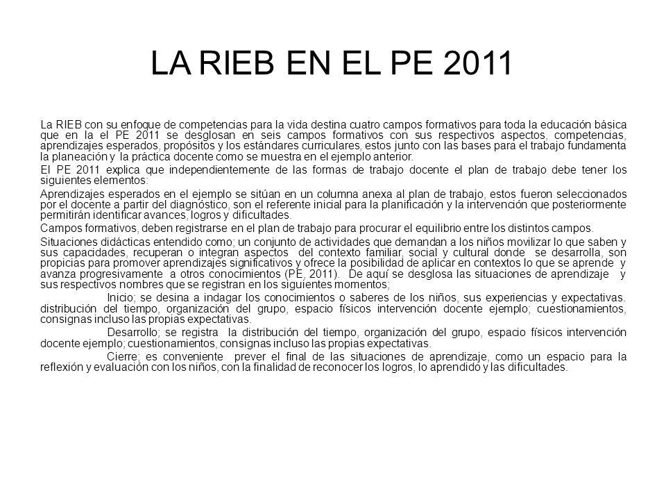 LA RIEB EN EL PE 2011 La RIEB con su enfoque de competencias para la vida destina cuatro campos formativos para toda la educación básica que en la el