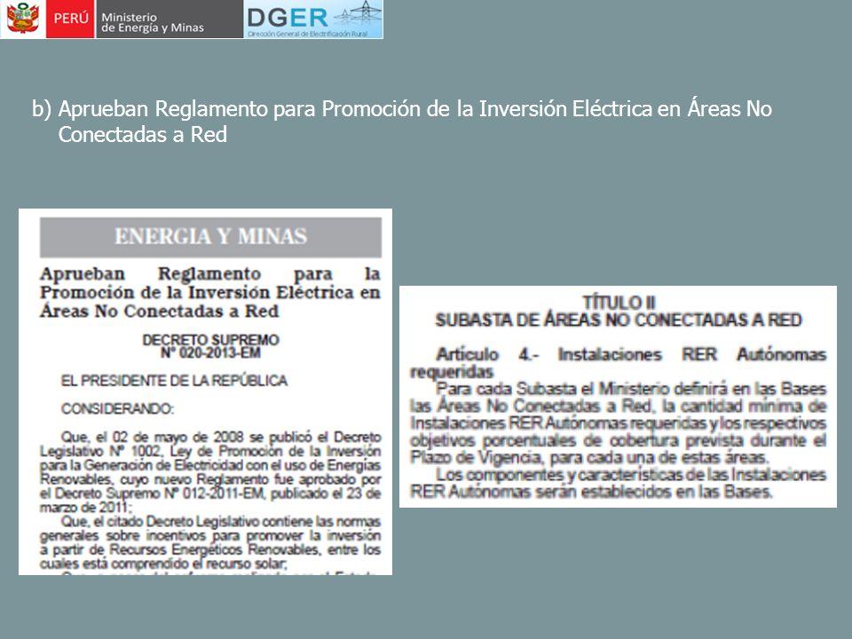b) Aprueban Reglamento para Promoción de la Inversión Eléctrica en Áreas No Conectadas a Red
