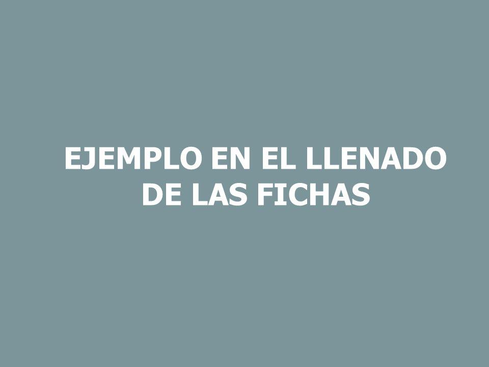 EJEMPLO EN EL LLENADO DE LAS FICHAS