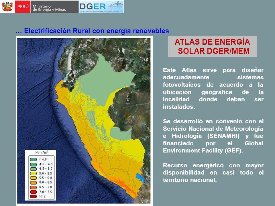 ATLAS DE ENERGÍA EÓLICA DGER/MEM … Electrificación Rural con energía renovables El Atlas Eólico ha sido desarrollado usando el sistema Wind Survey con el modelo numérico de predicción atmosférica MASS (Mesoscale Atmospheric Simulation System) con una resolución de 5 km x 5 km y acoplando el modelo Wind Map para mejorar la resolución a 1 km x 1 km.