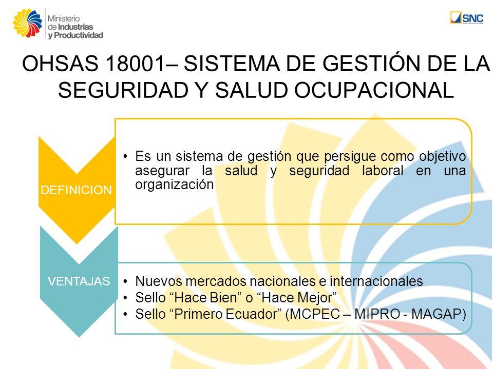 OHSAS 18001– SISTEMA DE GESTIÓN DE LA SEGURIDAD Y SALUD OCUPACIONAL DEFINICION Es un sistema de gestión que persigue como objetivo asegurar la salud y
