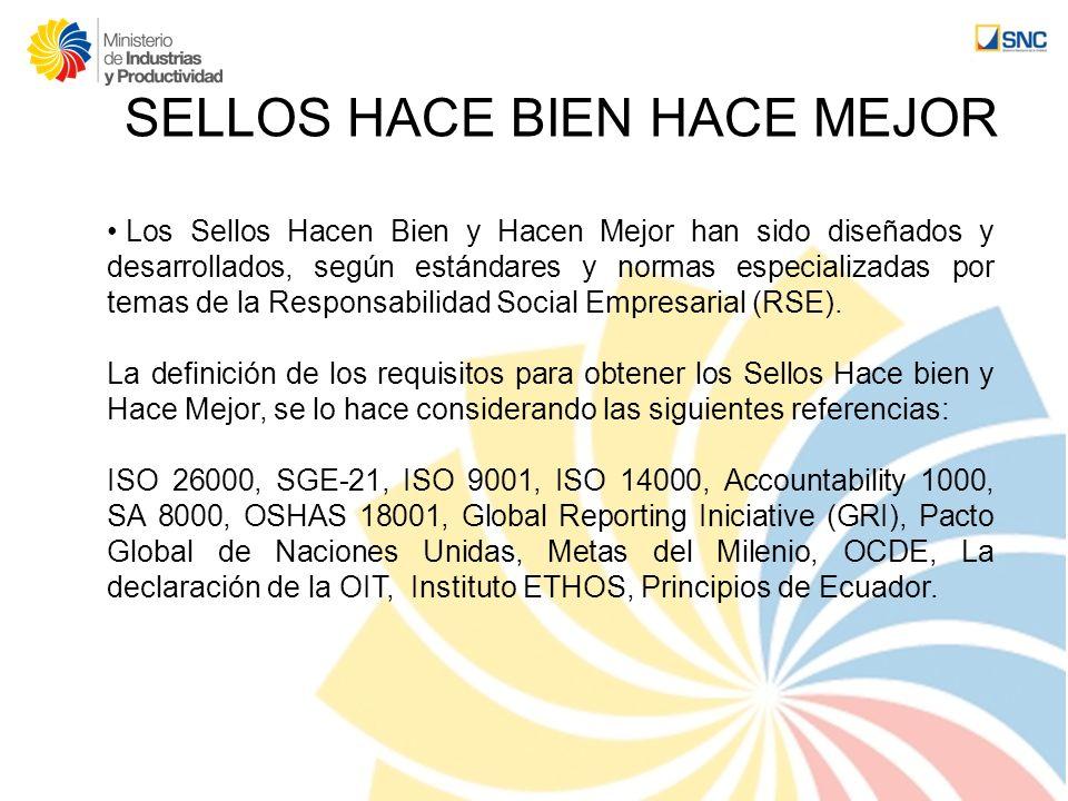 SELLOS HACE BIEN HACE MEJOR Los Sellos Hacen Bien y Hacen Mejor han sido diseñados y desarrollados, según estándares y normas especializadas por temas