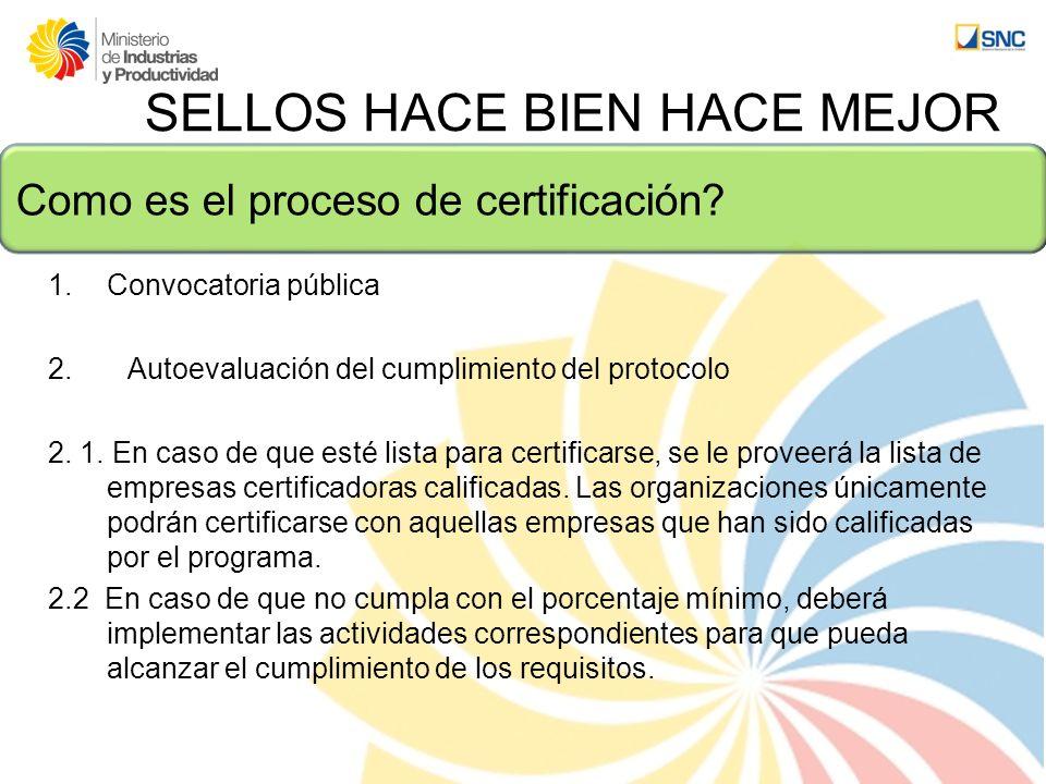 Como es el proceso de certificación? SELLOS HACE BIEN HACE MEJOR 1.Convocatoria pública 2. Autoevaluación del cumplimiento del protocolo 2. 1. En caso