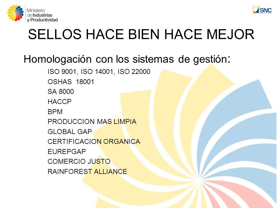 SELLOS HACE BIEN HACE MEJOR Homologación con los sistemas de gestión : ISO 9001, ISO 14001, ISO 22000 OSHAS 18001 SA 8000 HACCP BPM PRODUCCION MAS LIM