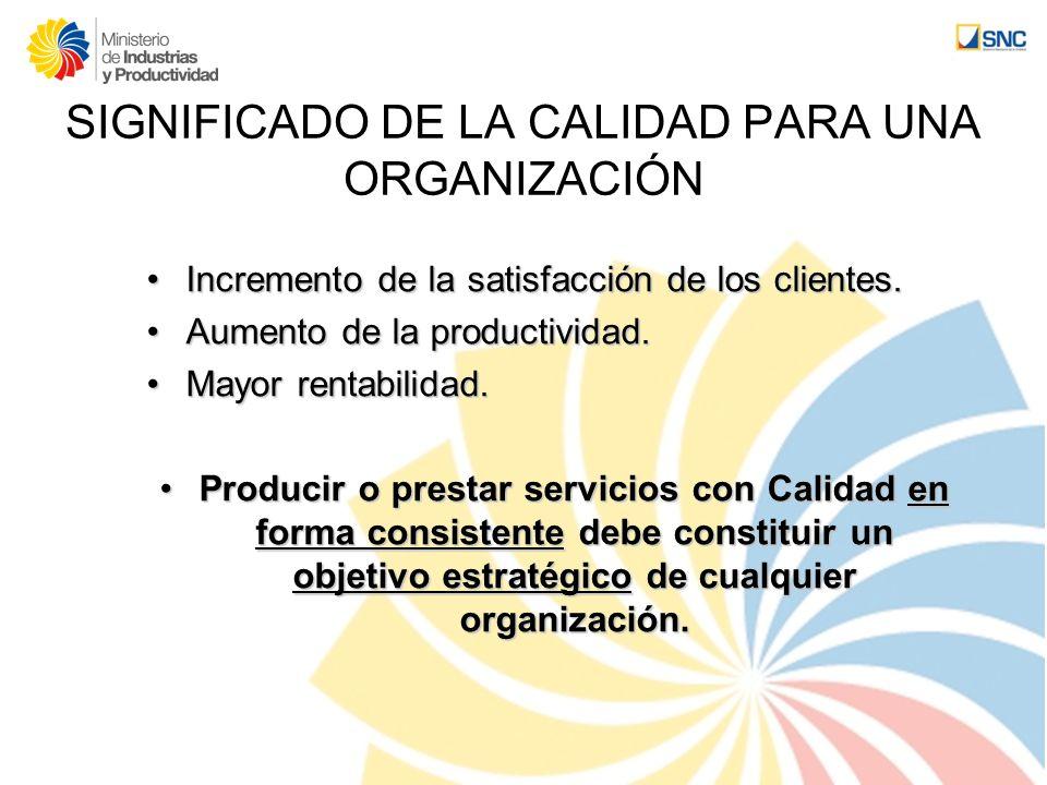 SIGNIFICADO DE LA CALIDAD PARA UNA ORGANIZACIÓN Incremento de la satisfacción de los clientes.Incremento de la satisfacción de los clientes. Aumento d