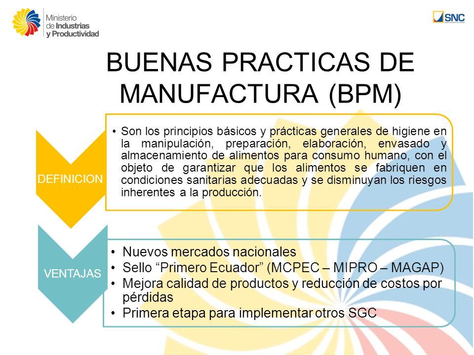 BUENAS PRACTICAS DE MANUFACTURA (BPM) DEFINICION Son los principios básicos y prácticas generales de higiene en la manipulación, preparación, elaborac