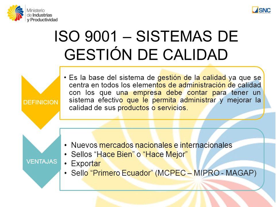 ISO 9001 – SISTEMAS DE GESTIÓN DE CALIDAD DEFINICION Es la base del sistema de gestión de la calidad ya que se centra en todos los elementos de admini