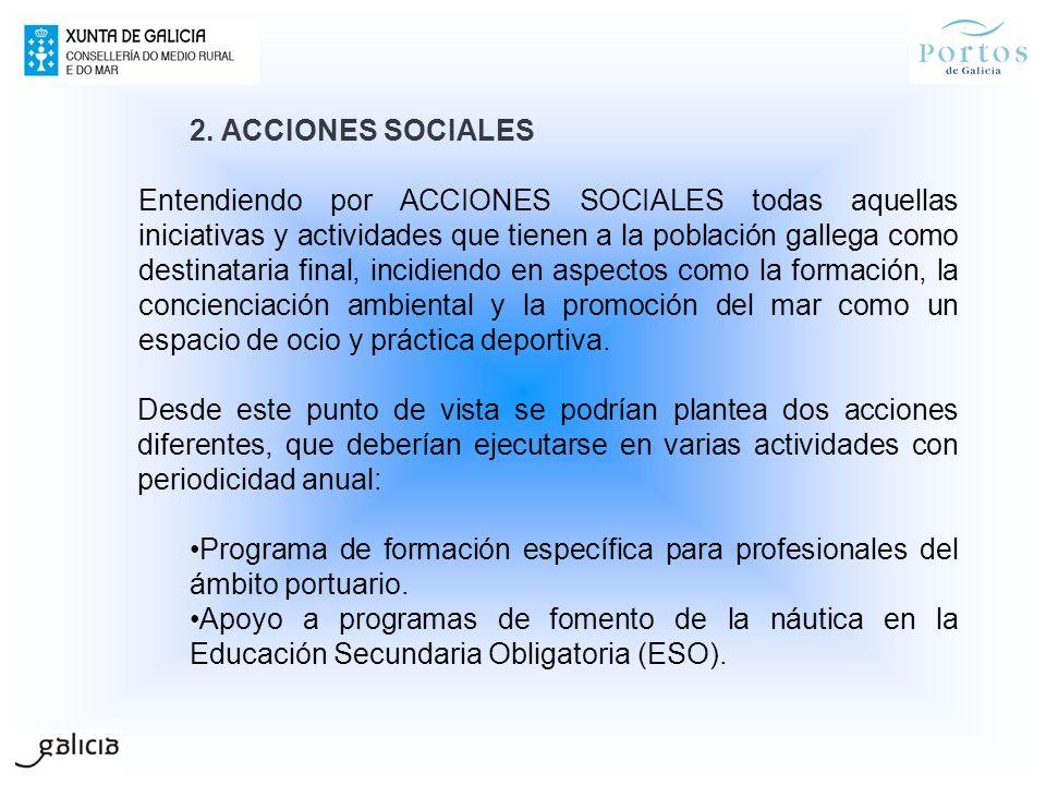 2. ACCIONES SOCIALES Entendiendo por ACCIONES SOCIALES todas aquellas iniciativas y actividades que tienen a la población gallega como destinataria fi