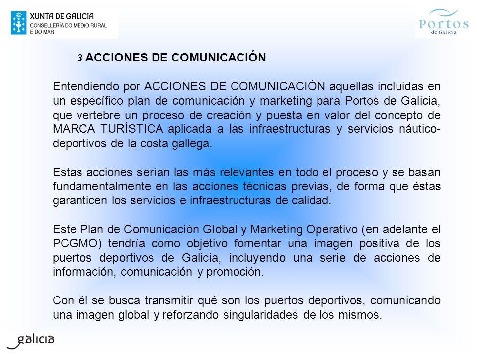 3 ACCIONES DE COMUNICACIÓN Entendiendo por ACCIONES DE COMUNICACIÓN aquellas incluidas en un específico plan de comunicación y marketing para Portos d