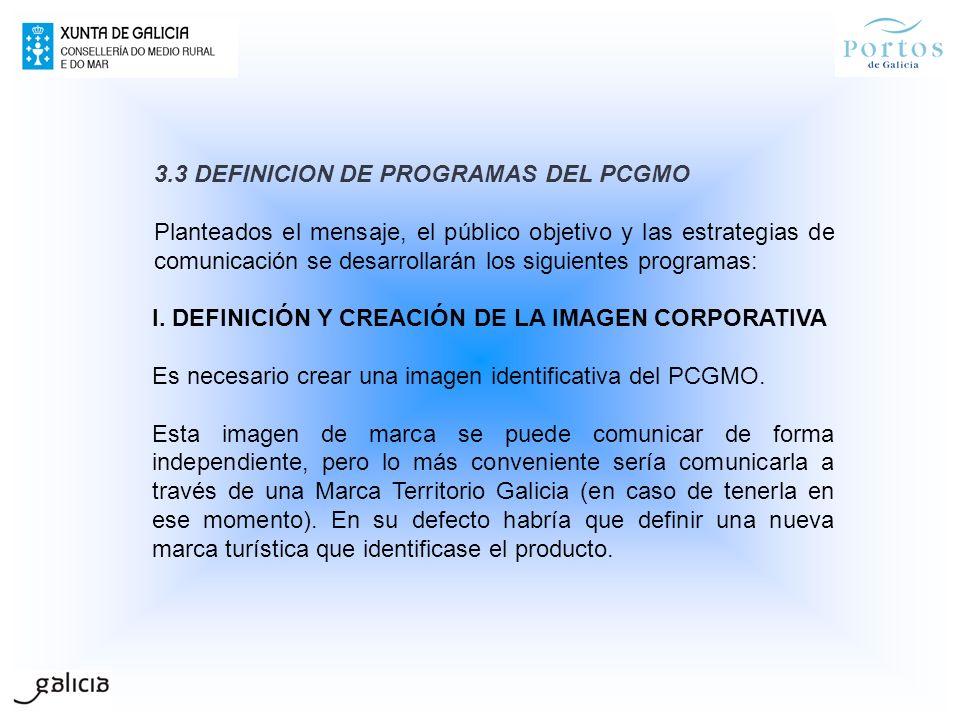 3.3 DEFINICION DE PROGRAMAS DEL PCGMO Planteados el mensaje, el público objetivo y las estrategias de comunicación se desarrollarán los siguientes pro
