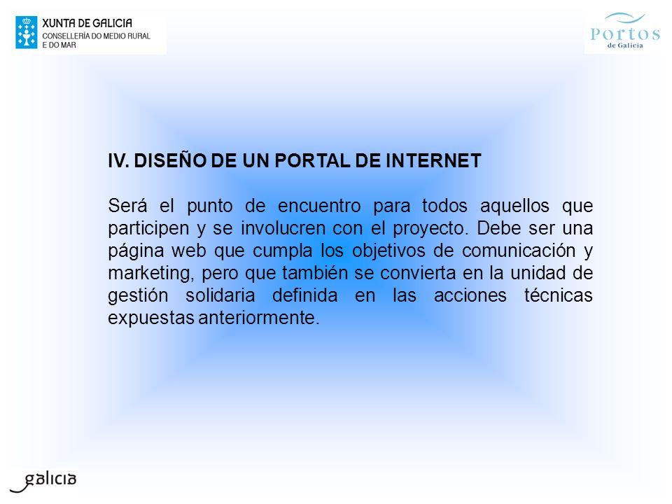 IV. DISEÑO DE UN PORTAL DE INTERNET Será el punto de encuentro para todos aquellos que participen y se involucren con el proyecto. Debe ser una página