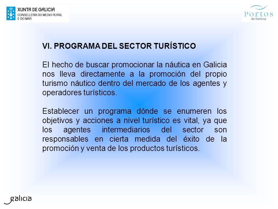VI. PROGRAMA DEL SECTOR TURÍSTICO El hecho de buscar promocionar la náutica en Galicia nos lleva directamente a la promoción del propio turismo náutic