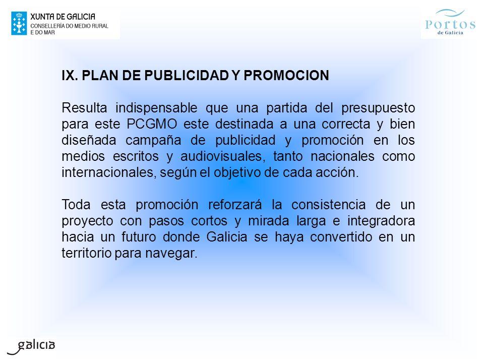 IX. PLAN DE PUBLICIDAD Y PROMOCION Resulta indispensable que una partida del presupuesto para este PCGMO este destinada a una correcta y bien diseñada