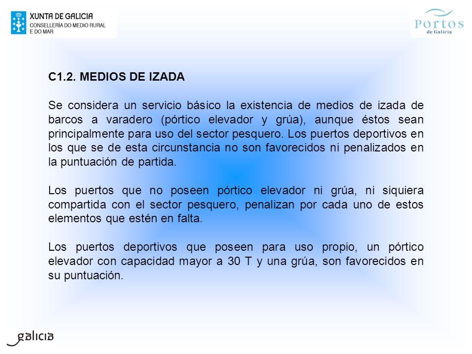 C1.2. MEDIOS DE IZADA Se considera un servicio básico la existencia de medios de izada de barcos a varadero (pórtico elevador y grúa), aunque éstos se