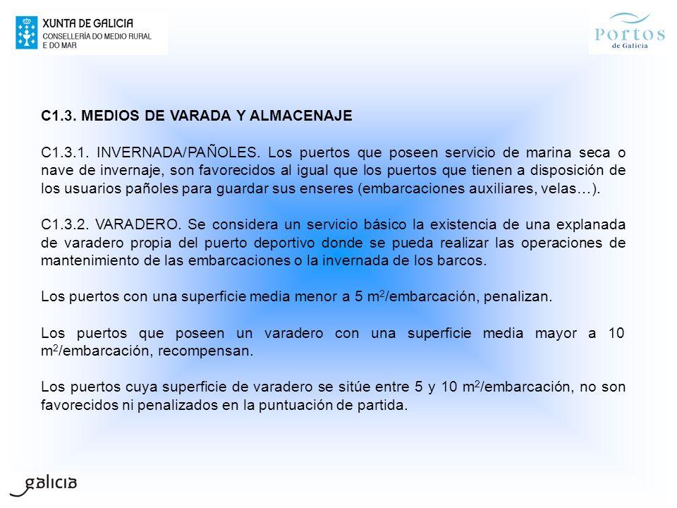 C1.3. MEDIOS DE VARADA Y ALMACENAJE C1.3.1. INVERNADA/PAÑOLES. Los puertos que poseen servicio de marina seca o nave de invernaje, son favorecidos al
