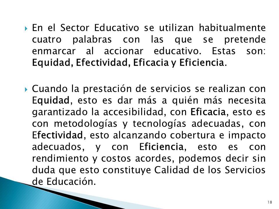 En el Sector Educativo se utilizan habitualmente cuatro palabras con las que se pretende enmarcar al accionar educativo. Estas son: Equidad, Efectivid