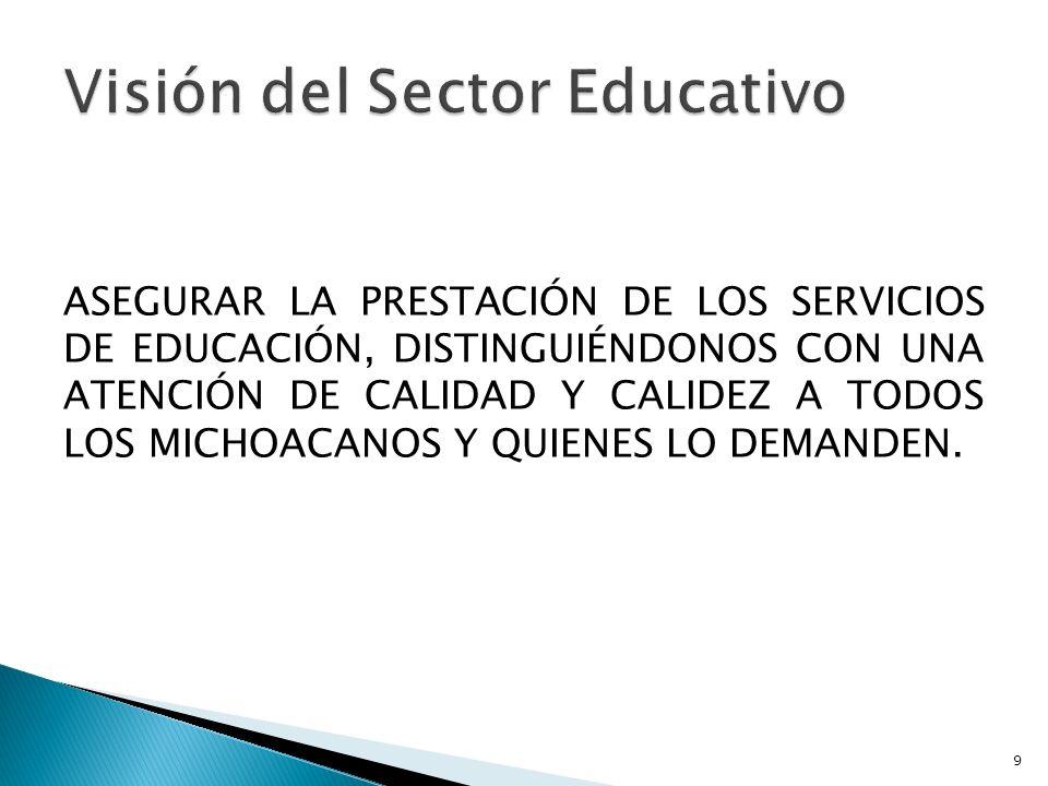 ASEGURAR LA PRESTACIÓN DE LOS SERVICIOS DE EDUCACIÓN, DISTINGUIÉNDONOS CON UNA ATENCIÓN DE CALIDAD Y CALIDEZ A TODOS LOS MICHOACANOS Y QUIENES LO DEMA
