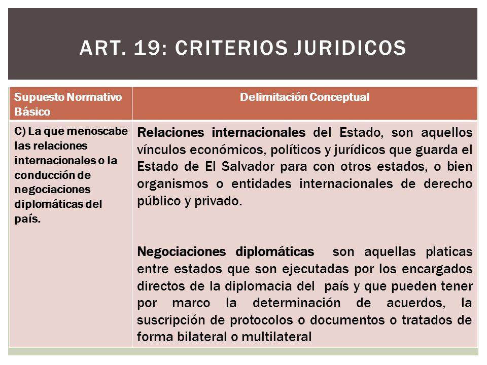 ART. 19: CRITERIOS JURIDICOS Supuesto Normativo Básico Delimitación Conceptual C) La que menoscabe las relaciones internacionales o la conducción de n